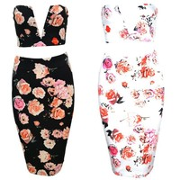 CUTE V TWO PIECE FLOWER DRESS