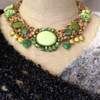 Bead Embroidered Collar, Necklace, Lime Green Cabachon, Lime Green Nuggets, Lamp Work Beads, Jasper Nuggets