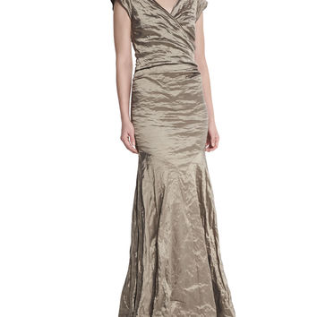 Cap-Sleeve Ruched Mermaid Gown, Size: