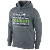 Nike Seattle Seahawks Super Bowl XLVIII Champions Trophy Collection Locker Room Pullover Hoodie - Charcoal