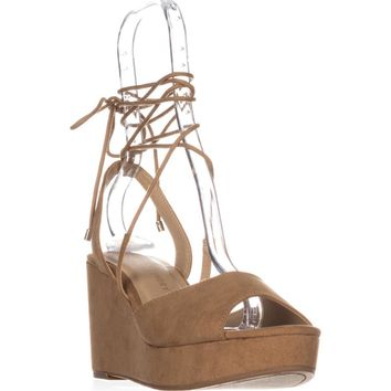 Chinese Laundry Cindy Platform Lace Up Sandals, Camel, 8 US / 38.5 EU
