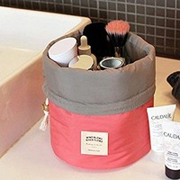 Make up Cosmetic Pouch, Tune Up Fashion Travel Toiletry Barrel Storage Organizer Wash Storage Case Bag Hanging Toiletries Travel Kit with a Mini Purse (Watermelon Red)