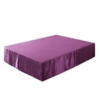 Tache Satin Dark Purple Midnight Bloom Bed Skirt (BM6438)