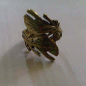 Gold Plated Feather Ring by allthingswildandfree on Etsy