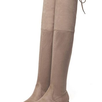 Khaki Stretch Suedette Lace Up Back Over the Knee Boots