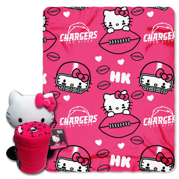 Chargers  40x50 Fleece Throw and Hello Kitty Character Pillow Set