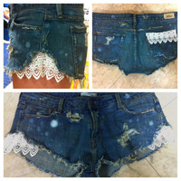 Lace denim shorts by carlymarston on Etsy