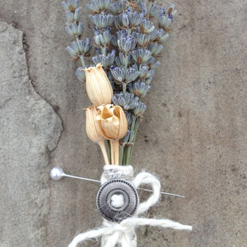 Handmade Wedding Boutonnieres Corsages - Silver Button, Lavender Boutonnieres, Pods Boutonnieres, Linen Fiber Ribbon, Country Rustic