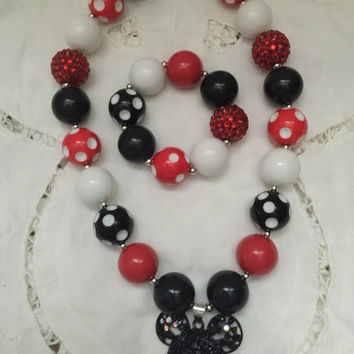 Girls Jewelry/Toddler Jewelry/Baby Jewelry/Necklace/Bracelet/Minnie Mouse/Red/Black/White/Rhinestones/Polka Dots/Gift Giving/Christmas Gift