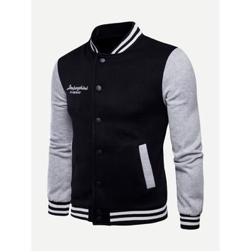 Men Colorblock Striped Letter Print Jacket