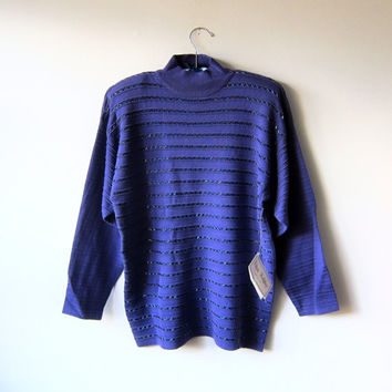 80s Beaded Stripe Purple Turtleneck Sweater, Kitsch Hipster Style -- NEW OLD STOCK, New with Tags!