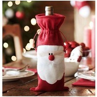 Santa Claus Wine Bottle Cover Dinner Party Table Decor (Size: 32cm by 13cm, Color: Red)