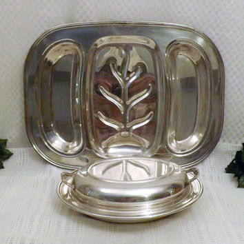 Vintage English Silver Plate Meat Vegetable Serving Dish Tray Set