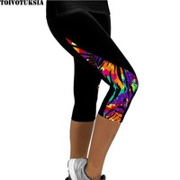 Women Leggings Capris Printed Black Milk  Capri Summer
