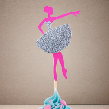 BALLERINA Party Treat Picks / Cupcake Toppers (Set of 12) - Pick Your Colors!