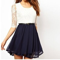 Chiffon Dress with Lace Insert for Summer