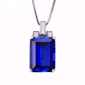 Women's Blue Sapphire Genuine Sterling Silver Emerald Cut Necklace