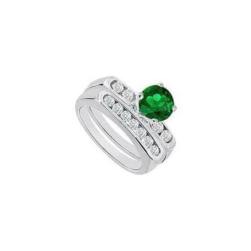Emerald & Diamond Engagement Ring with Wedding Band Sets 14K White Gold  0.90 CT TGW