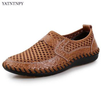 YATNTNPY Casual Men's Shoes big size 38-46 Shoes Mesh Sneaker, breathable flat leather shoes slip-on Loafers Alligator Moccasins