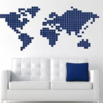 Wall Decals Pixel World Map Atlas Decal Vinyl Sticker Nursery Family Bedroom Home Decor Interior Design Art Murals Ms482
