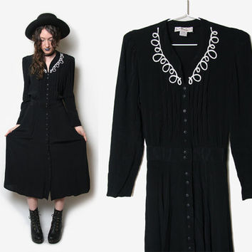Black Witchy Long Sleeve Dress - Karin Stevens - Witchy Dress - 1990s 90s  Button Up - Grunge Dress - Witch Dress - Salem Dress - Goth Dress