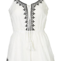 PETITE Lily Tassel Playsuit - White