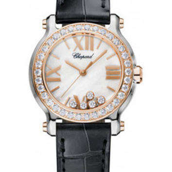 Chopard - Happy Sport - Round Mini - Stainless Steel and Rose Gold - Diamond Bezel