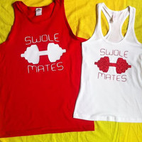 Free Shipping for US SWOLE MATES Matching Couples Tank Tops/Shirts Red/White and White/Red glitter