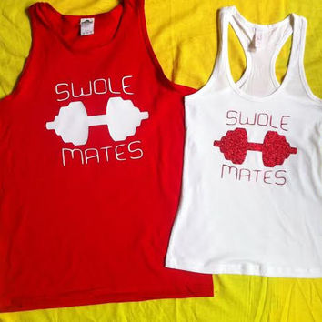 4f06f47d090ea Free Shipping for US SWOLE MATES Matching Couples Tank Tops Shir