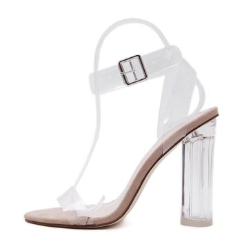 Block High Heel Crystal Clear Transparent Sandals