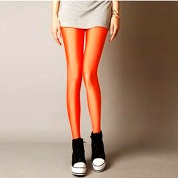 Solid Color Leggings - Orange
