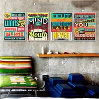 Motivational Typography Quotes Vintage Retro A4 Large Art Print Poster Inspiration Wall Picture Canvas Painting Bar Office Decor