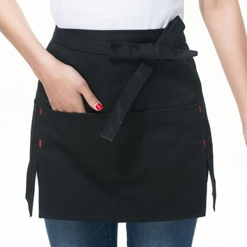 Men Half Aprons Women Universal Restaurant Coffee Shop Uniforms Cooking Waiter Short Apron With Pockets Kitchen Accessories