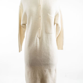 Cream Wool Angora Sweater Dress