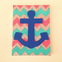 9x12in Hand Painted Nautical Chevron Burlap Canvas
