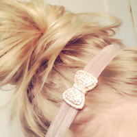 One Gorgeous Bling Rhinestone Bow Charm Elastic Headband Chic Cute Sparkle Fancy DOLLAR SHIP in US