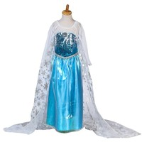 CRAZY POMELO Blue Snow Queen Princess Costume Dress With Long Cape Height 100cm