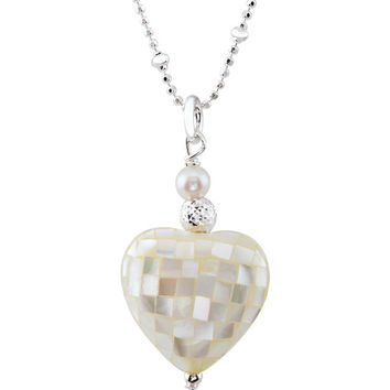 """Sterling Silver Mother of Pearl Heart 18"""" Necklace"""