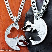 Panda Necklace set, Interlocking Couples Necklaces