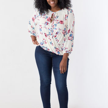 Kaia Plus-Size Faux Wrap Top in White