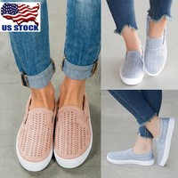 Women's Casual Hollow Out Round Toe Slip On Shoe Flats Trainers Sneakers Oxfords