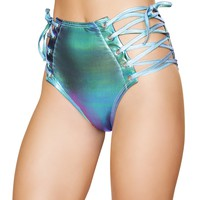 Foil Figh-Waisted Shorts with Lace-up Detail