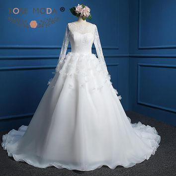 Rose Moda Bateau Neck Long Lace Sleeves Organza Ball Gown with 3D Flowers Low V Back Chantilly Lace Corset Real Photos