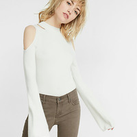 bell sleeve cold shoulder sweater