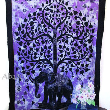 TWIN HIPPIE Bedding, Small Cotton Elephant Tapestry Wall Hanging Indian Bedding Bedspread Hippie Bohemian Throw Ethnic Home Decorative Art