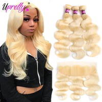 Upretty Hair Brazilian Body Wave Blonde bundles with frontal Closure Human Hair 3 Bundles With Closure 613 Bundles With Frontal