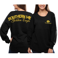 Southern Miss Golden Eagles Women's Pom Pom Jersey Oversized Long Sleeve T-Shirt - Black