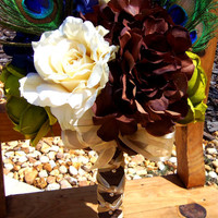 Peacock Feather Bouquet- Hydrangea, Rose, Feather, Brown, Ivory, Blue- Garden Wedding Bouquet