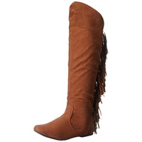 Qupid Womens Neo-162 Faux Suede Fringe Cowboy, Western Boots