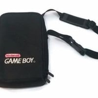 Vintage Nintendo Gameboy Black Console And Cartridge Travel Case Bag Carrying Case Retro Gaming Console